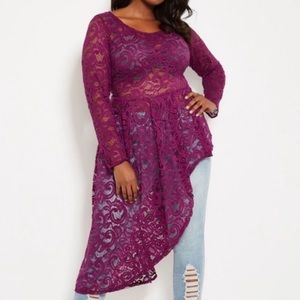 Ashley Stewart Asymmetrical Lace Duster.